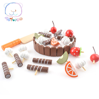 2017 Top wooden cutting toys fruit cream cake in baby kitchen play toys