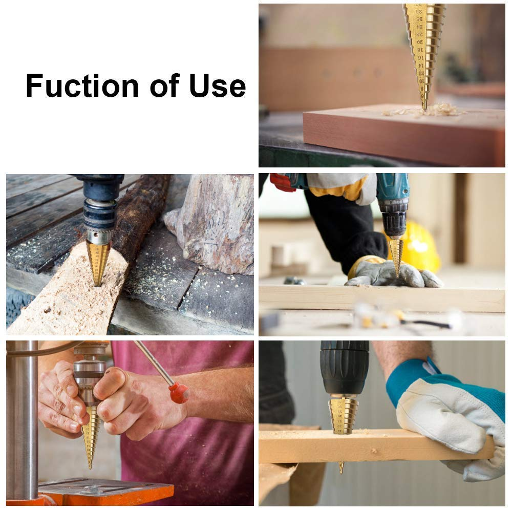 Image 5 - Drill Bit HSS Titanium Coated Step Drill Wood Set Power Tools for Metal High Speed Steel Hole Cutter Step Cone Center Drills-in Drill Bits from Tools