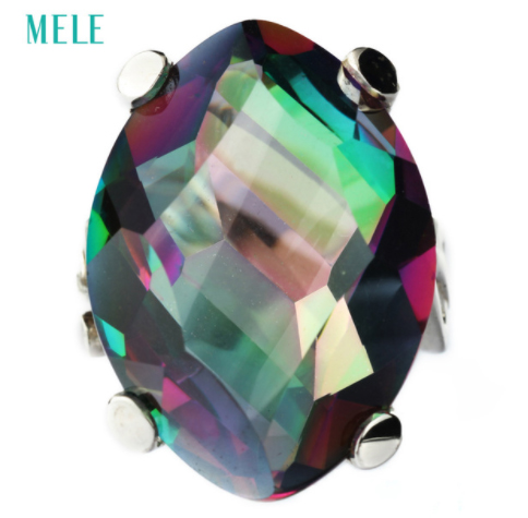 Natural mystic quarts silver ring irregular shape in 18mm 24mm multi color special and fashion