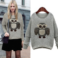Winter Keep Warm O Neck Women Knitting Sweaters Thicken Pullovers Sweater Three-dimensional Fur Owl Grey Sweter Tricot S3