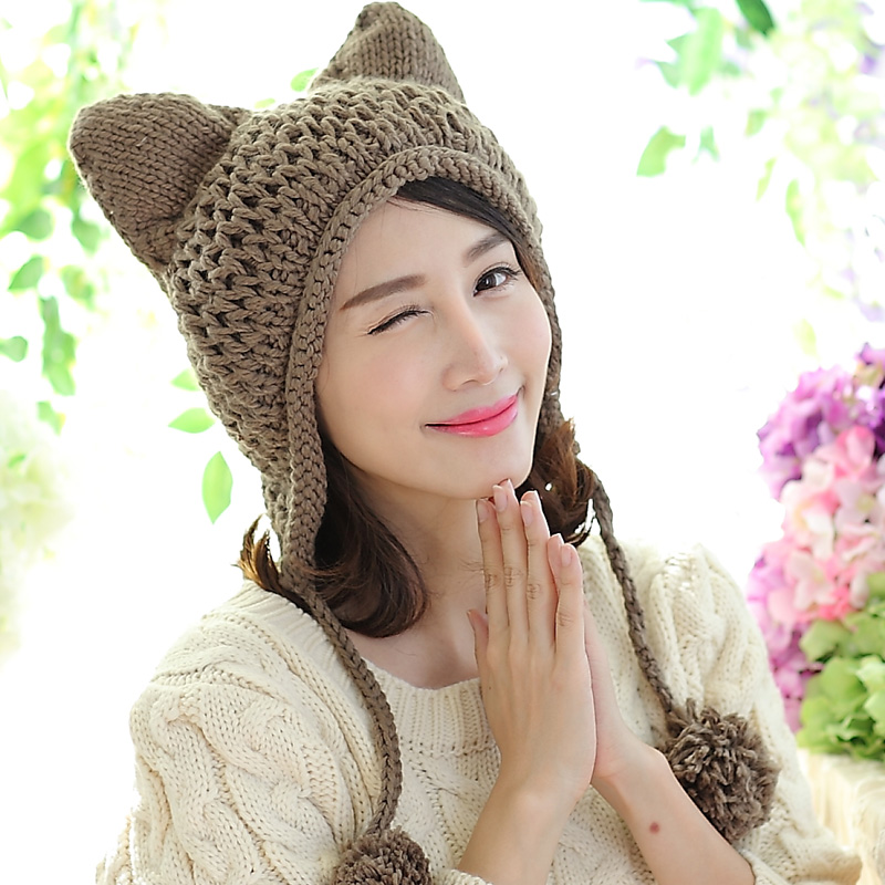 a6009f6de US $7.18 20% OFF|BomHCS 22 Colors Very Cute Fox Ears Hat 100% Hand Made  Cold Weather Knitted Warm Ear Beanie-in Skullies & Beanies from Apparel ...