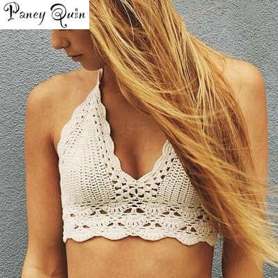 Summer top crop crochet Women Hand-knitted Tops Vest Shirt Sexy Crochet women sexy top Beachwear Hollow Out Bikini Bra