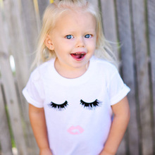 цена на 2019 summer baby girls T shirt  toddler SMILE cute  TEE short-sleeved  tops white cotton tshirt for 1- 6 years girl