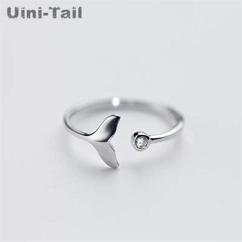 Uini-Tail Micro-Inlay-Ring Jewelry Whale 925-Sterling-Silver Korean-Fashion Cute Ladies