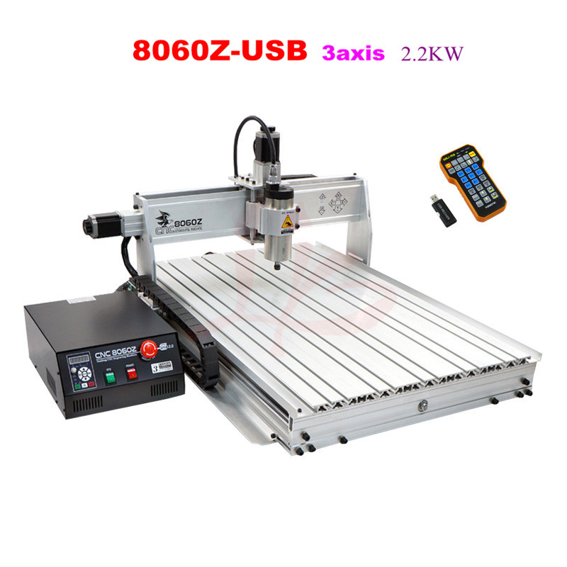 8060Z-USB 3axis 2.2KW CNC Router Drilling and Milling Machine for wood metal stone engraving cnc 5axis a aixs rotary axis t chuck type for cnc router cnc milling machine best quality