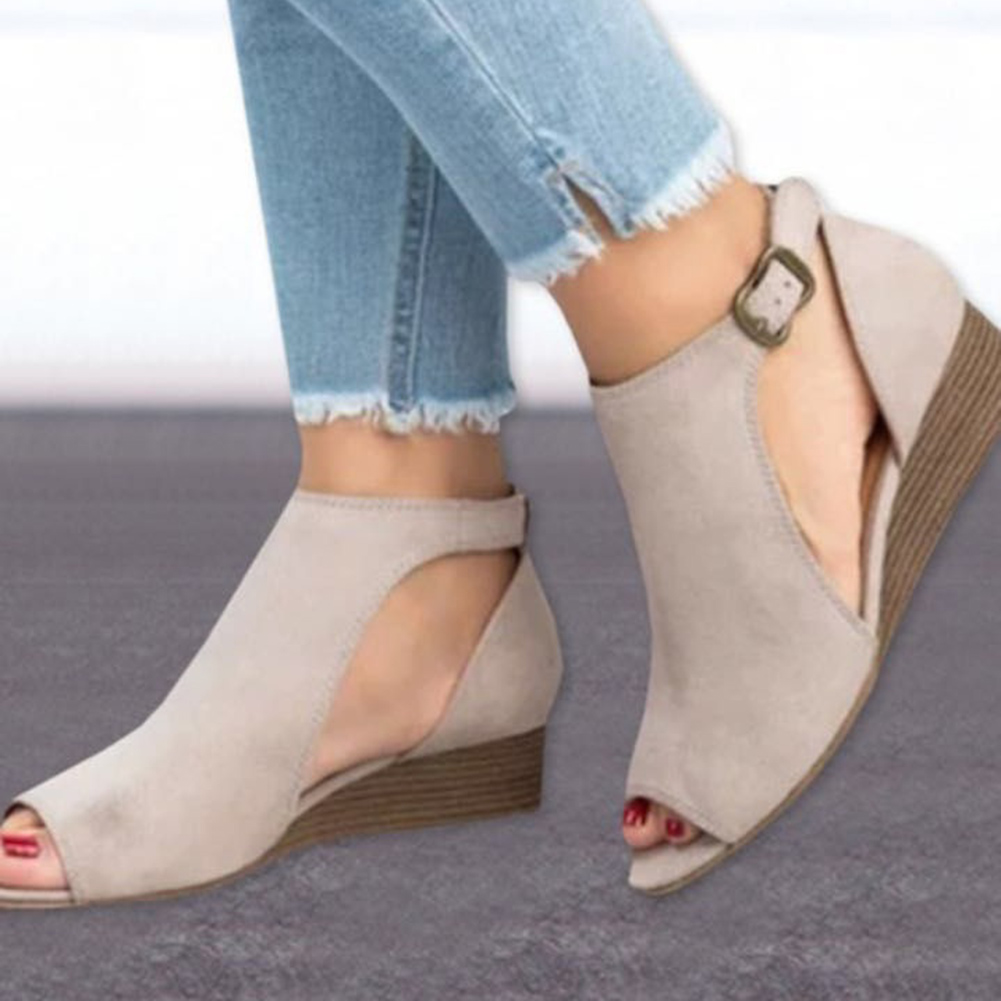 Women Sandals 2018 New Wedges Shoes For Women Peep Toe Summer Shoes Female Low Heels Sandals Chaussure Femme Wedge Sandals peacock crystals slingbacks 8cm chunky heels open toe summer shoe sandals chaussure femme de marque chaussure femme talon ouvert