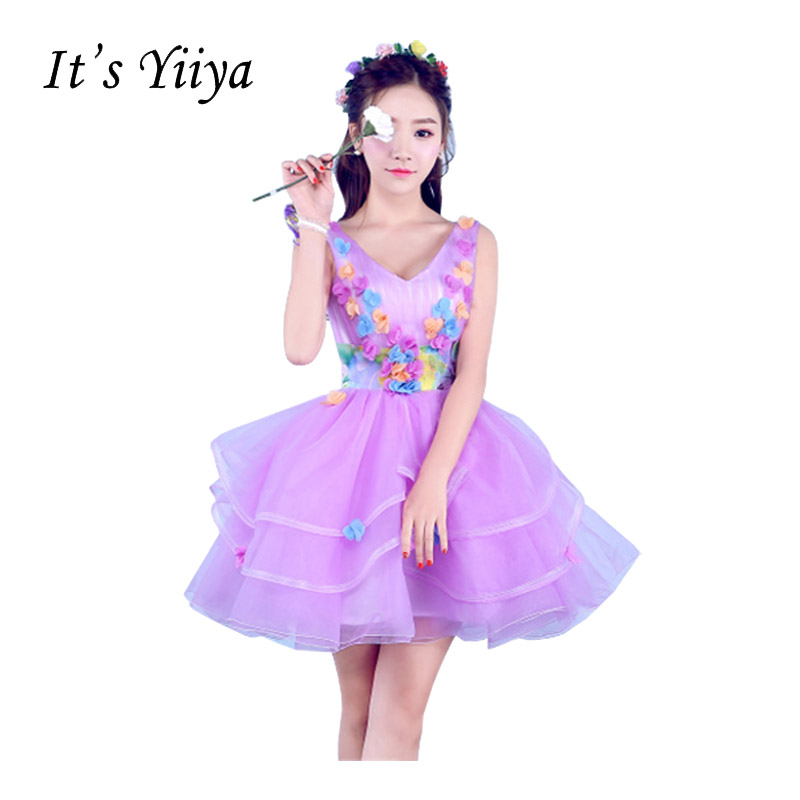 It's Yiiya Purple V-Neck Sleeveless Lace Ball Gown   Cocktail     Dresses   Flower Princess Mini Short Tulle Party Formal   Dress   T-213