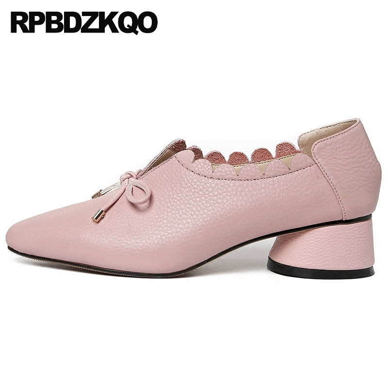Size 33 Pointed Toe Medium Heels Low High Bow 4 34 Fashion Shoes Brand Thick Pink Genuine Leather Pumps Sweet Ladies Top QualitySize 33 Pointed Toe Medium Heels Low High Bow 4 34 Fashion Shoes Brand Thick Pink Genuine Leather Pumps Sweet Ladies Top Quality