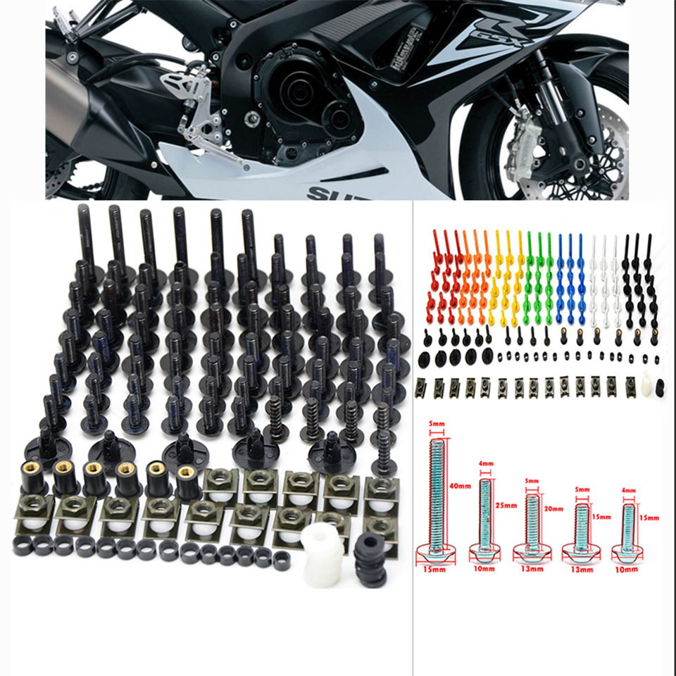 76 PCS Universal Motorcycle Fairing Body Bolts Spire Screw Spring Nuts FOR KAWASAKI H2 Street Versys 650 1000 ZRX1200 ZZR1200 new universal 76 pcs set screw bolts nuts for disc brake rotors mountain bike
