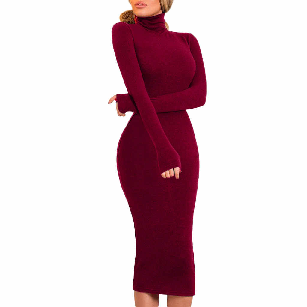 Fashion Clothing Women Lady Solid Dress Women Long Plain Sleeve Sheath Sexy Dress Stretchy Party Night Spring Autumn Dress