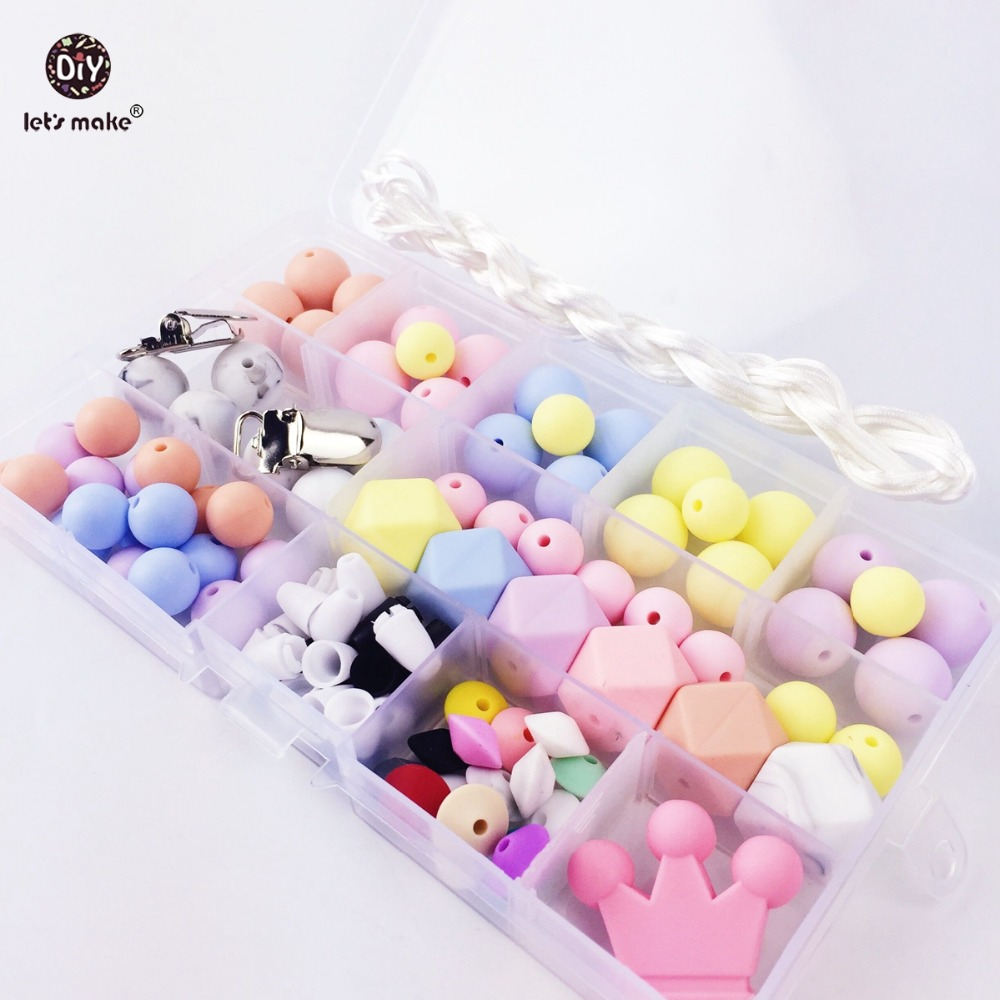 Mari kita Membuat Permen Warna Manik-manik Silikon Buatan Tangan DIY Perhiasan Ibu Teether Charm Pendant Kalung Bayi Teether Rattle Beads Set