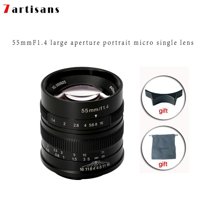 7 ремесленников 55 мм F1.4 Большая диафрагма портрет ручной фокус микро объектив камеры подходит для Canon eos m крепление E Fuji крепление бесплатная доставка