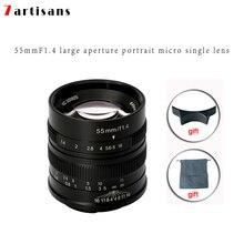 7 ремесленников 55 мм F1.4 большой апертурой портрет ручная фокусировка микро набор объективов для камеры Canon eos-m Mount E Fuji крепление бесплатная доставка