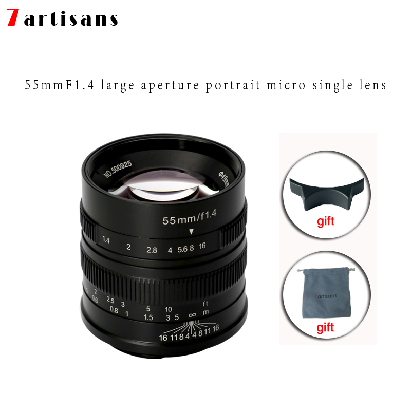 7artisans 55mm F1.4 Large Aperture Portrait Manual Focus Micro Camera Lens Fit for Canon eos-m Mount E Fuji Mount Free Shipping image