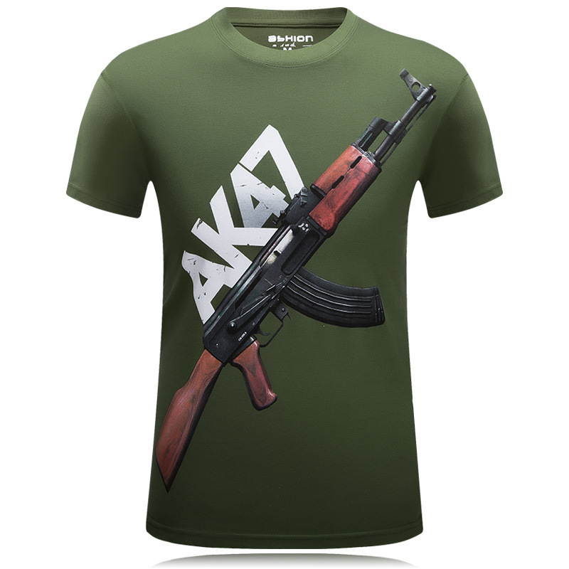 2017 New Styles Top Tees Men's Short Sleeve Polyester O-Neck T-Shirt Punk 3D AK 47 Printed T Shirt Men T Shirt S-6XL