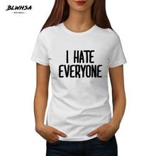 12abc1eb79474 BLWHSA nouveau été je déteste tout le monde Slogan T Shirt décontracté 100%  coton drôle