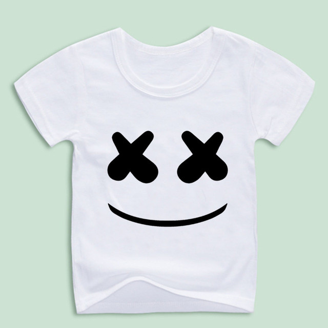 Boy and Girl Marshmello Face Smile Cartoon T,Shirts Children Hip Hop Swag T  shirt Kids Skateboard Tops Baby Shirt