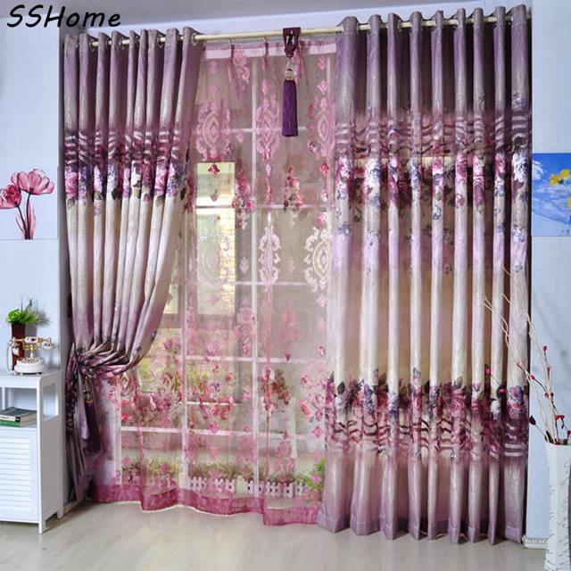 Quality Flower Curtain Shalian Rustic Pink Flower Patterns