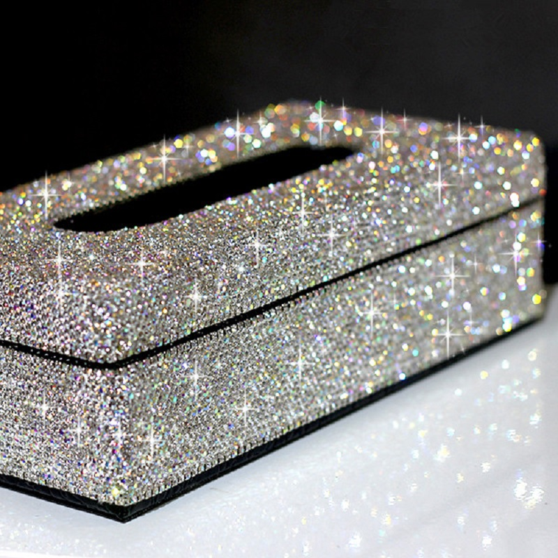 Diamond Pasted Leather Car Tissue Box Bling Bling Luxury Women Car Paper Towels Cover Case White for Home Office Styling UseDiamond Pasted Leather Car Tissue Box Bling Bling Luxury Women Car Paper Towels Cover Case White for Home Office Styling Use