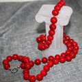 New fashion women 12mm red artificial coral round beads long chain necklace for women free shipping charms jewelry 36inch B2920