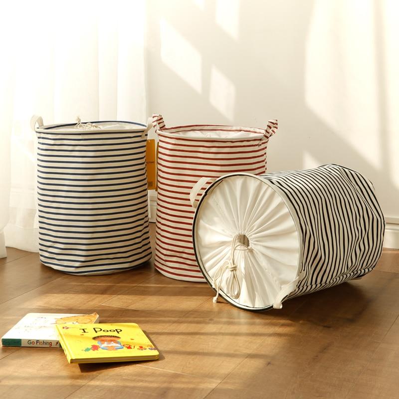 Cucian Keranjang Basis Penyimpanan Toy Home Organizer Bin Stripe 40 * 50cm Besar Untuk Cuci Pakaian Kotor Cotton Folding Waterproof