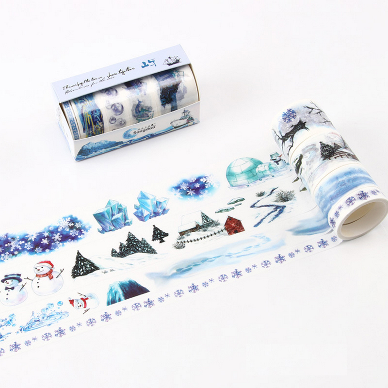 4 Pcs/Lot Ice World Snowman Snow Scene Washi Tape DIY Decoration Scrapbooking Planner Masking Tape Adhesive Tape Kawaii