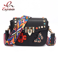 Fashion style good quality embroidery butterfly rivets national strap ladies shoulder bag handbag crossbody messenger bag purse