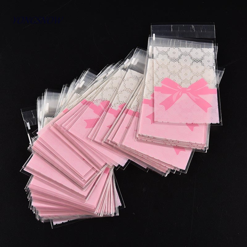 50 Pcs 7*10cm/7*7cm  Cute Pink Bow Design Cake Gift Packages OPP Bags Plastic Candy Cookies Biscuits Bags Wedding Party Supplies(China)