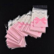 50 шт. 7*10 см/7*7 см милый розовый бант дизайн торт подарочные пакеты OPP пакеты пластиковые конфеты печенье сумки Свадебные принадлежности