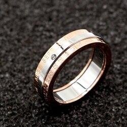الكلاسيكية تصميم دوران التقويم والتاريخ حلقة التيتانيوم الصلب ورود عالية الجودة اللون الأوسط الفضة العلامة التجارية حلقة امرأة مجوهرات