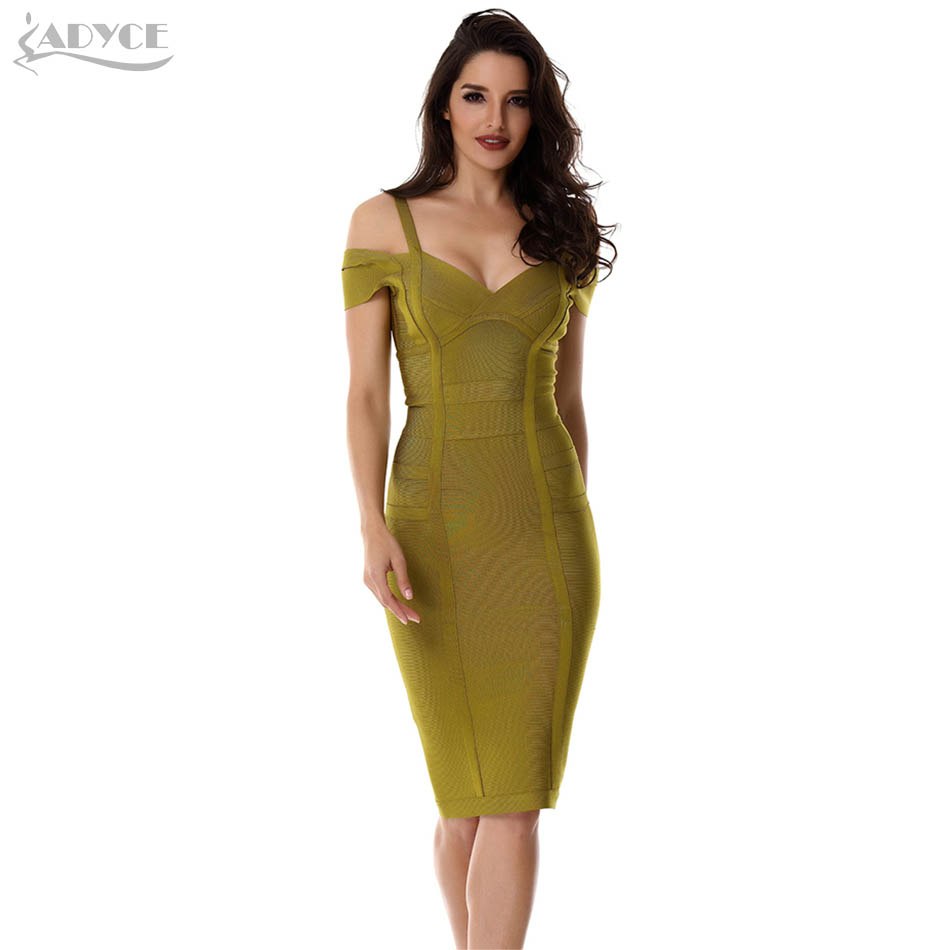 New Autumn Women Party Bandage Dress Olive Green Off the Shoulder Knee