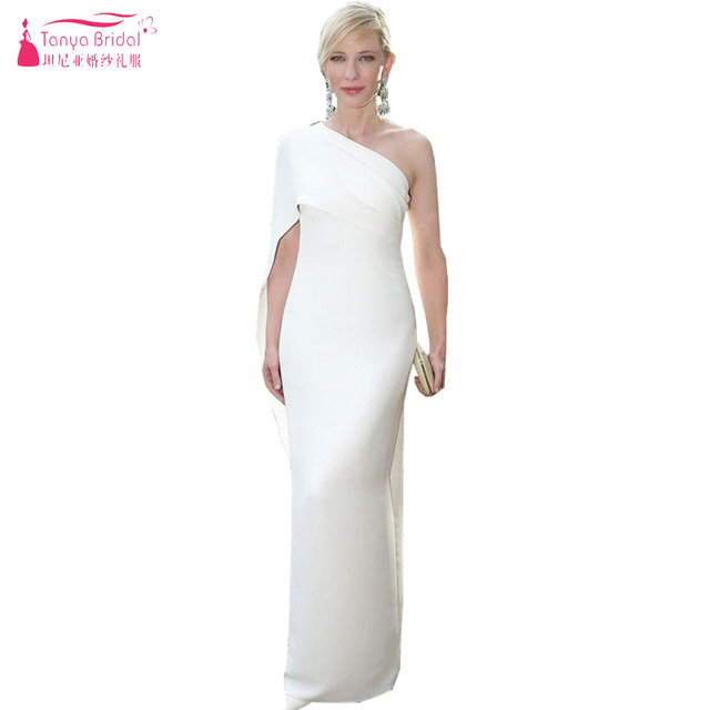 0b2d64d4e5065 US $157.7 5% OFF|White Long elegant Indian Prom Dresses One shoulder Simple  Evening Dresses Fashion Sleeve Women Formal Gowns Z1103-in Prom Dresses ...
