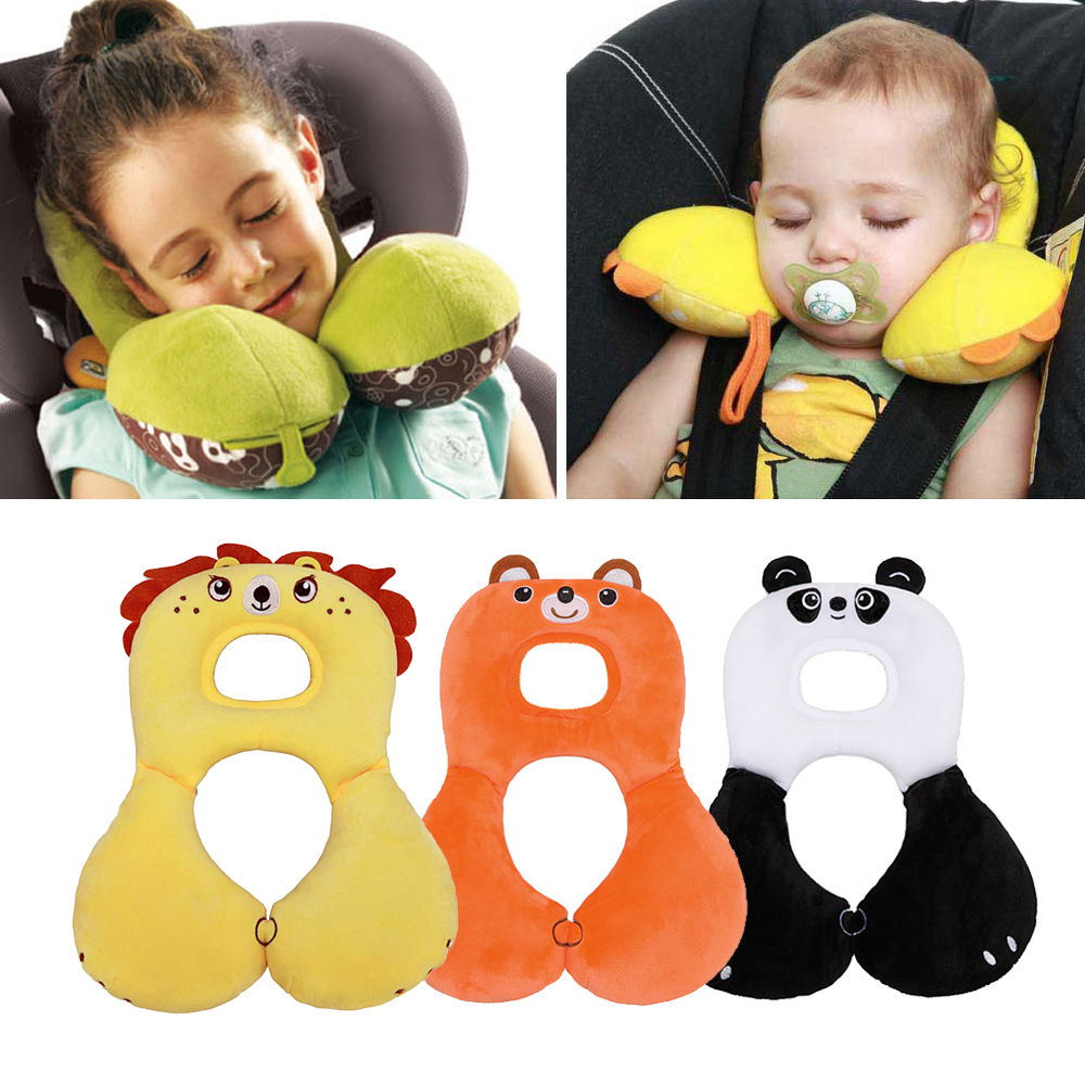 Cute Animal Baby Stroller Car Seat Pillow Kids Toddlers U-shaped Pillow Soft Cartoon Head Protection Pillow Headrest Cushion