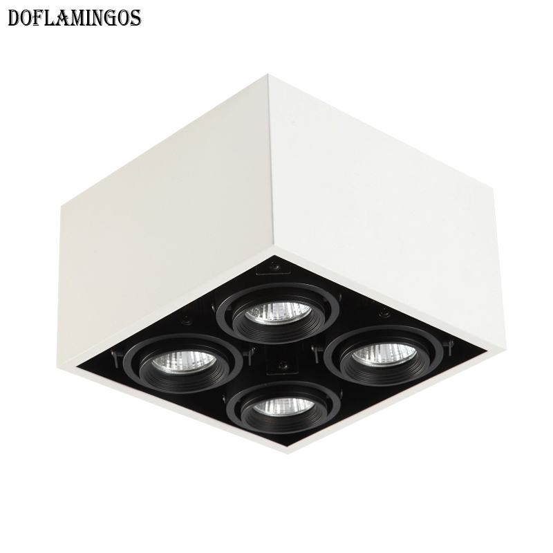 2019 Fashion White Black Grid Grille Light LED 5W 12W MR16 4 Ceiling Light Downlight Outfit