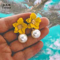 Tocona Charming Elegante Neue Mode Schöne Gelbe Blumen Tropfen Ohrringe Exquisite Weiß Perle Anhänger für Frauen Schmuck 8071