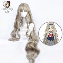 90cm DARLING in the FRANXX KOKORO Cosplay Wig Long Wavy Blonde Synthetic Hair Wigs For Women + Cap