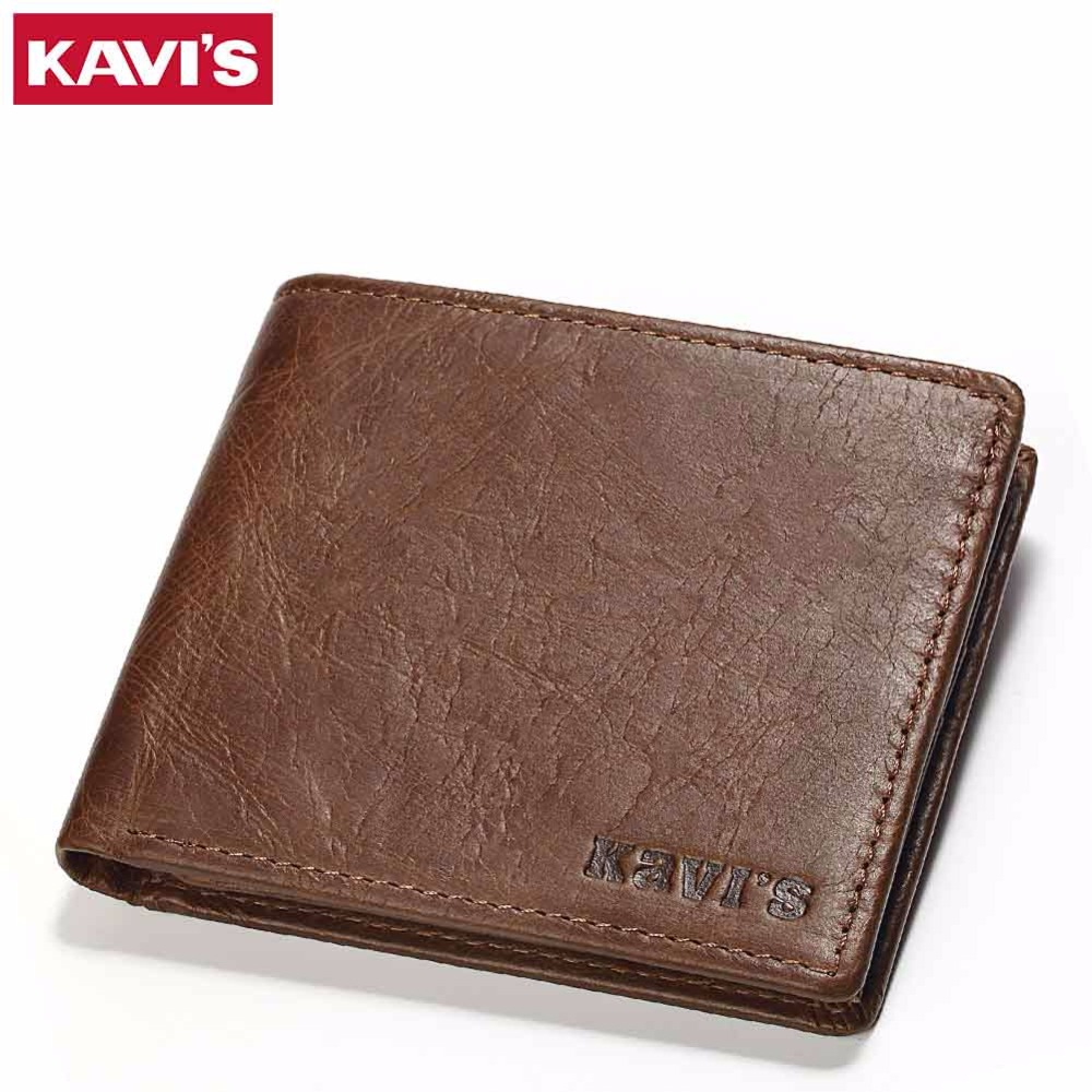 KAVIS Genuine Leather Wallet Men Small Coin Purse Male Cuzdan Walet Portomonee Mini Slim Perse PORTFOLIO Vallet and Card Holder document for passport badge credit business card holder fashion men wallet male purse coin perse walet cuzdan vallet money bag