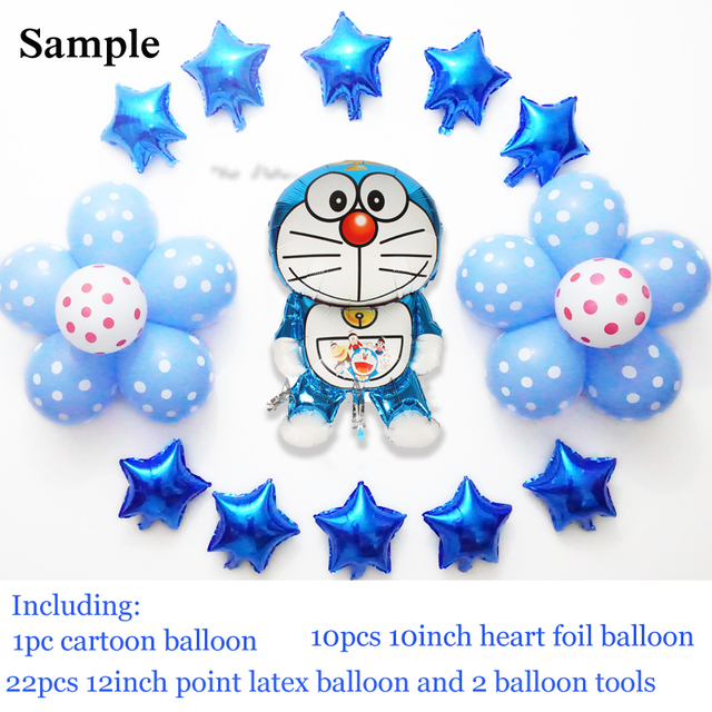 23pcs Lot Doraemon Foil Balloons For Boy Birthday With Star Shap And Dot Latex