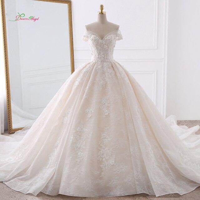 c7c04887feec Dream Angel Sexy Sweetheart Lace Ball Gown Wedding Dresses 2019 Applique  Beaded Flowers Chapel Train Bride Gown Vestido De Noiva