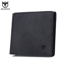 BULLCAPTAIN Marke Echtes Leder-mappe Für Männer Kurzen Rinds Mann Brieftaschen mit Kartenhalter Geldbörse
