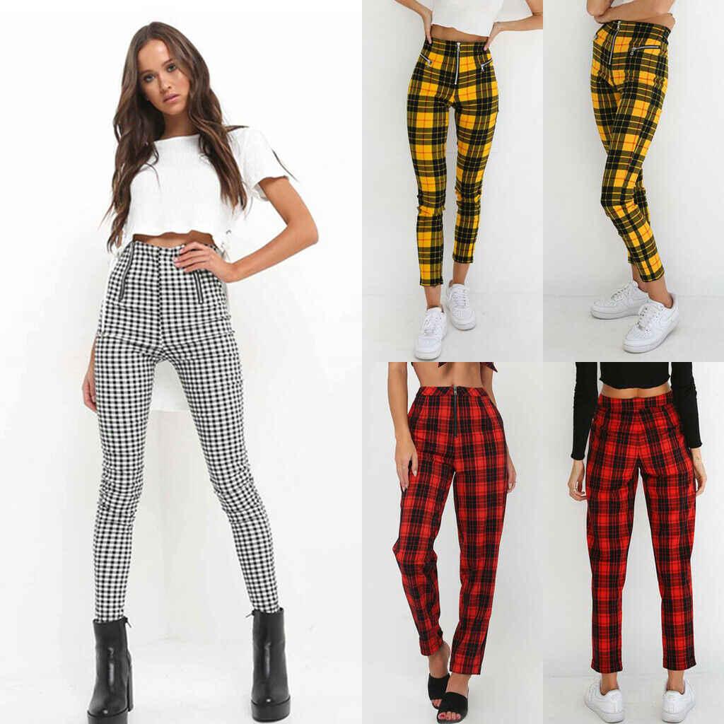 Moda damska nowa wiosna lato Casual długie spodnie ołówkowe wysokiej talii Zip-up Plaid szczuplejsze spodnie spodnie dresowe w paski