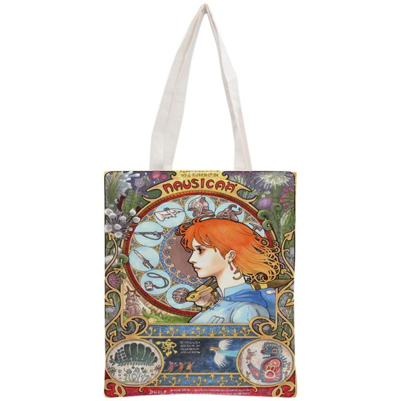 Sac fourre-tout personnalisé Art Nouveau sac à main réutilisable sacs à provisions deux côtés femmes pochette en tissu d'épaule pliable toile de coton
