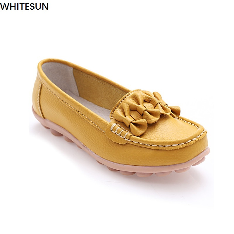 WHITESUN 2017 spring summer shoes woman split Leather Women Flats Slip On drive shoes Women Flat Shoes ladies Loafers lanshulan bling glitters slippers 2017 summer flip flops platform shoes woman creepers slip on flats casual wedges gold