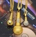 3 dos homens do Projeto 24 K Banhado A Ouro Microfone Iced Out Cantor da Música Pingente com Miami Cubano Colar De Corrente De Hip Hop Jóias