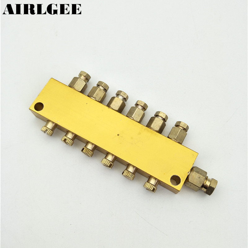Air Pneumatic Brass Adjustable 6 Ways Oil Distributor Regulating Manifold Free shipping gold tone air pneumatic adjustable 9 way oil distributor valve manifold block