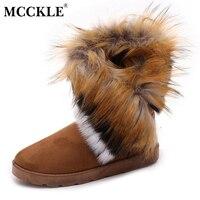 MCCKLE Ladies Faux Fur Warm Flat Shoes Tassels Edging Footwear Suede Women Snow Boots Sewing Slip
