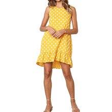 Women Polka Dot Boho Mini Dress Ruffle Hem Summer Casual Sleeveless Evening Party Tunic Loose Tops Beach Holiday Sundress