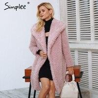 Simplee Warm winter faux fur coat women Fashion streetwear elegant long coat female 2018 Pink casual autumn coat outerwear