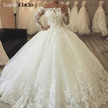 SuperKimJo Long Sleeve 3D Flowers Boho Wedding Dresses Bridal Gown 2019 Robe De Mariee Lace Applique for Women