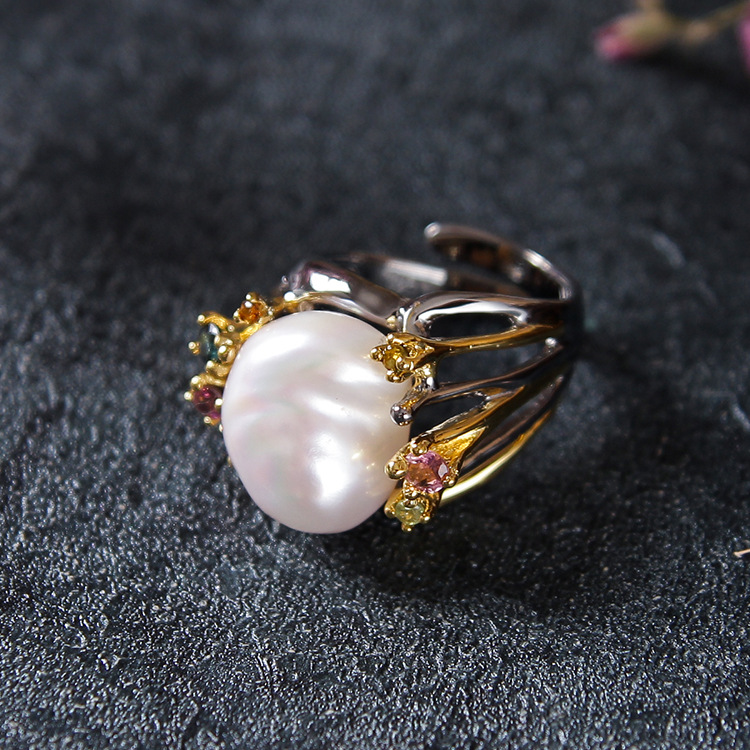 specially for high-grade jewelry, pearl ring, female natural shaped bead fashion jewelry, small fresh art wind ring faux pearl s shaped cuff ring
